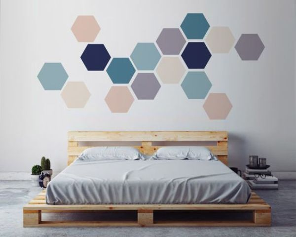 simple geometric wall art made with removable hexagon stickers
