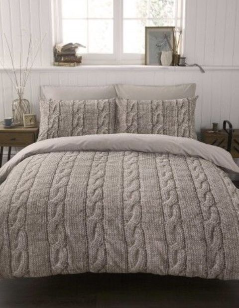 grey cable knit bedding for comfortable sleeping