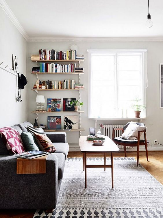 keep in mind that bulky furniture will clutter the space and choose light-weight