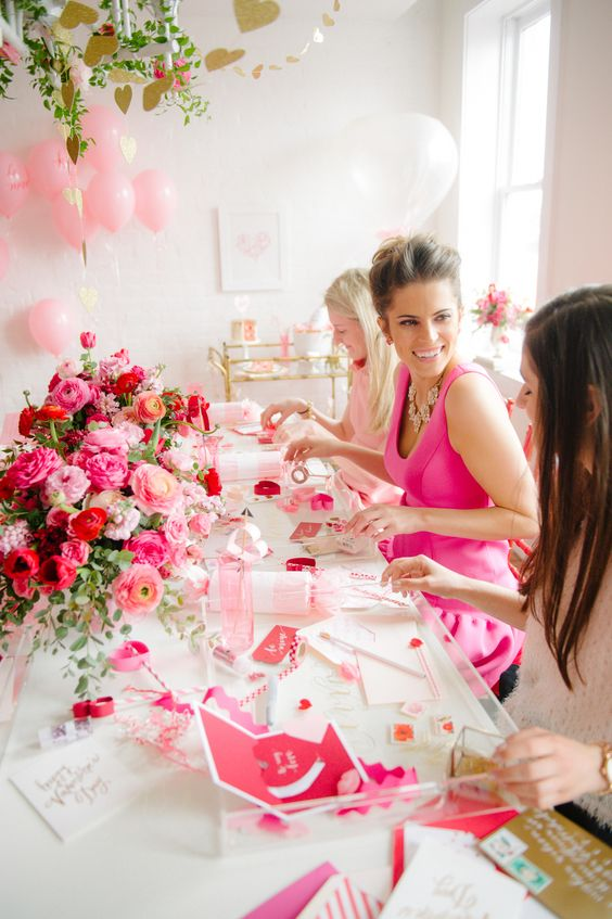 pink balloons and flowers are right what you need for such a party