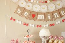11 red and wwhite paper decorations for a galentine party
