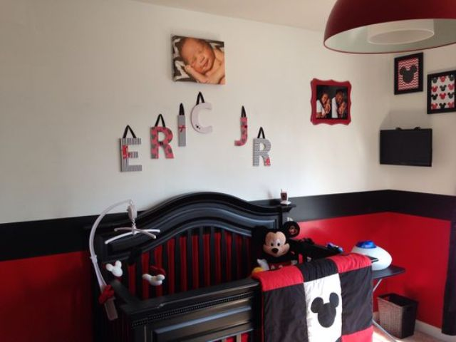 red, black and white nursery for a small boy