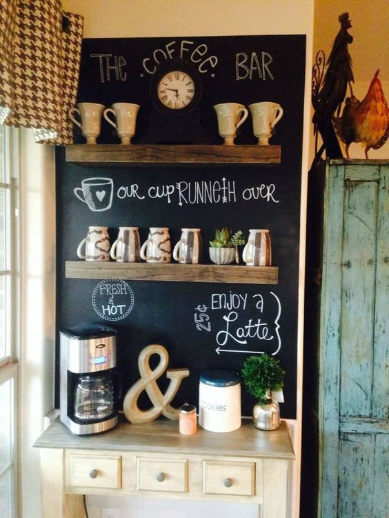rustic coffee station with a blackboard and wooden shelves