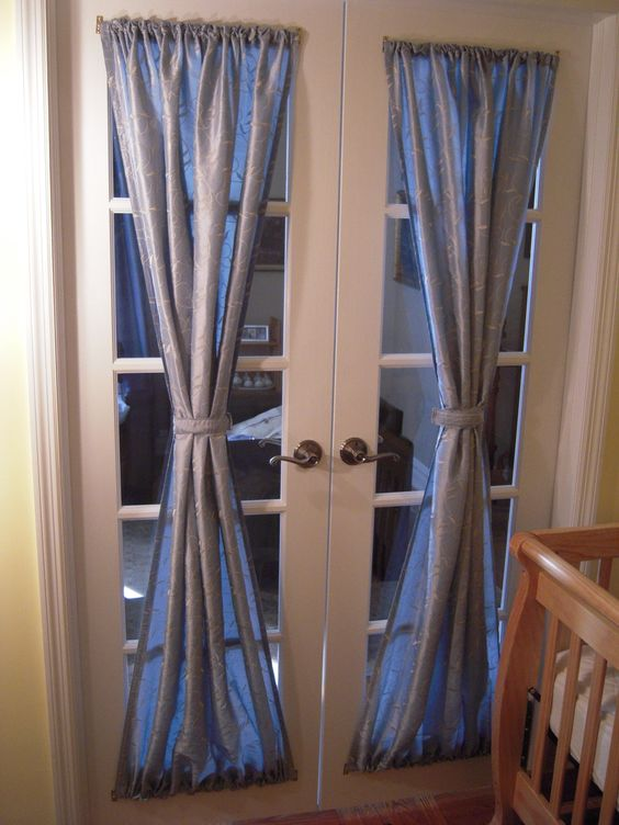 silver draped French door curtains