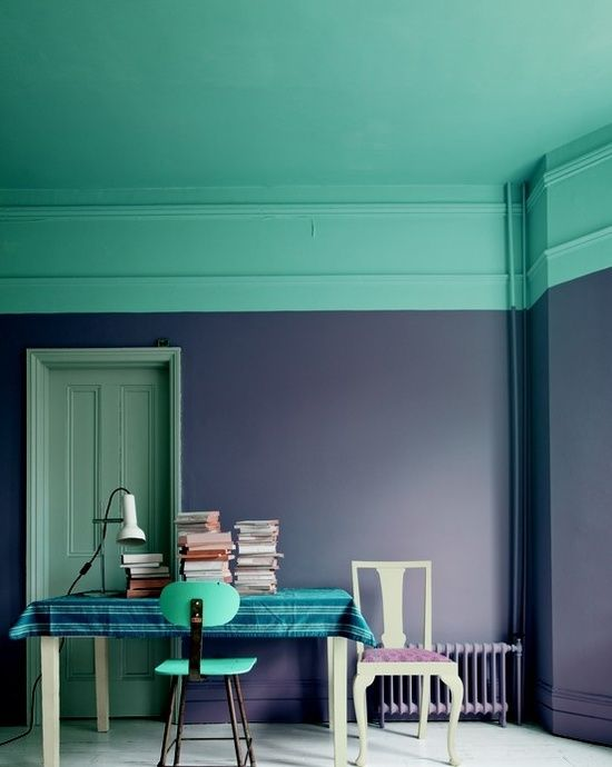 turquoise ceiling and navy walls for a contrast