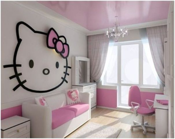 grey and pink kids' room with an oversized Hello Kitty