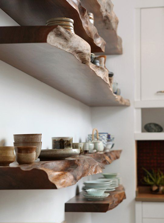 kitchen shelves with a raw wood edge look awesome