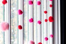 12 pink and red pompom hangers are easy and very fast to make