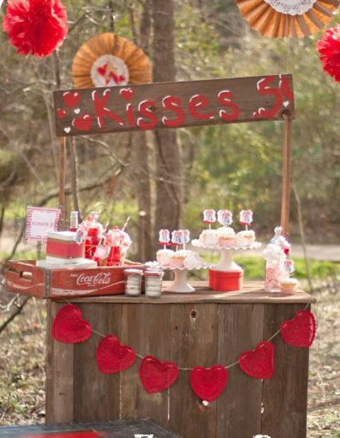 dessert bar as a kissing booth is a fun idea