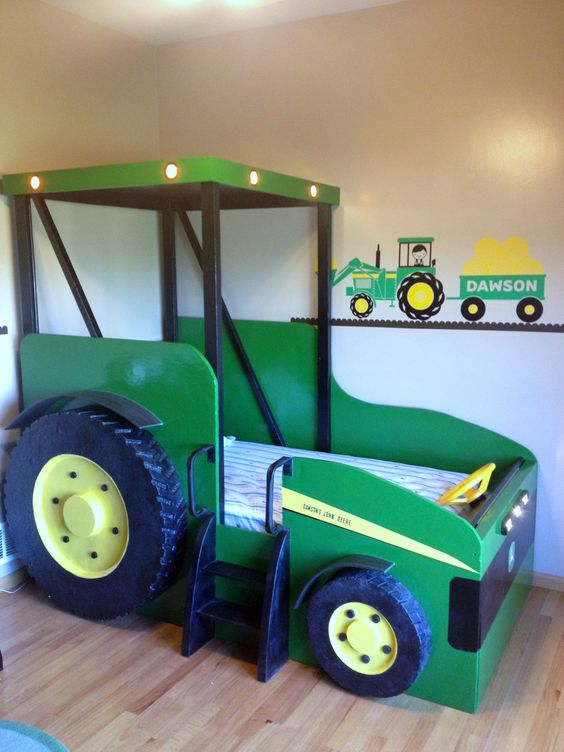 green tractor bed is a comfy and original piece