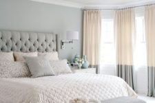 13 pastel bedroom with color block curtains hung to the ceiling