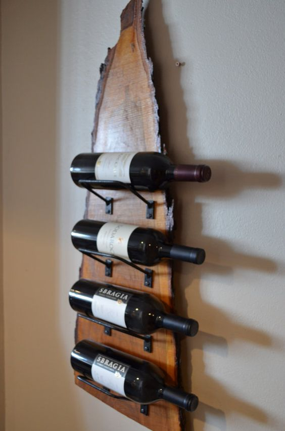 wine bottle shelf with a raw edge