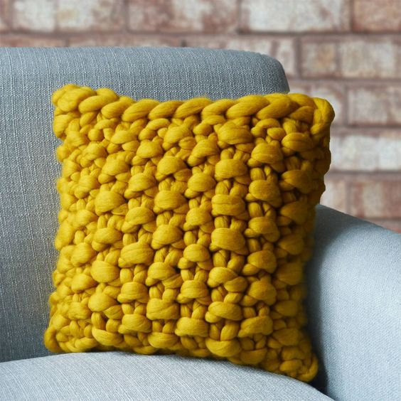 bold yellow chunky knitted panel cushion