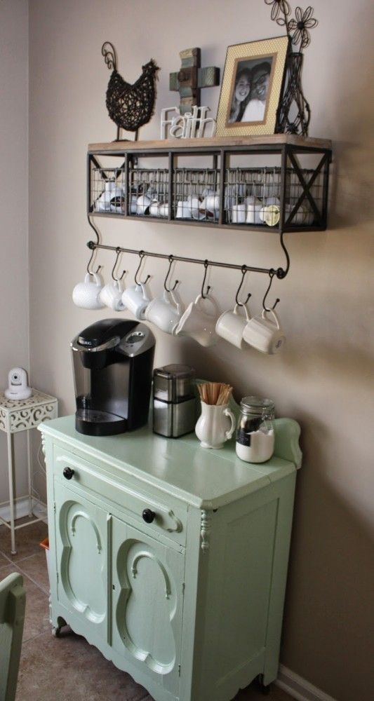 industrial and vintage coffee station with wire baskets and wire railing