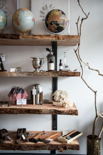industrial-inspired raw wood edge shelves for a living room