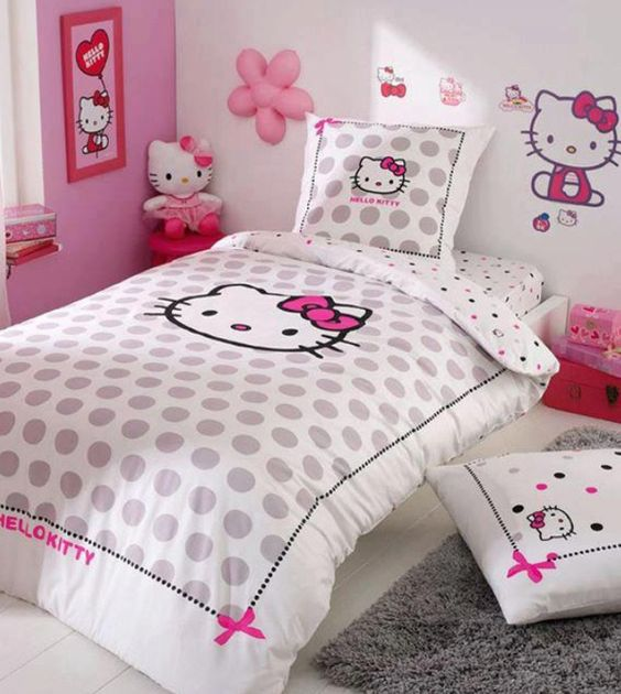 pink and white room decor, grey polka dot Hello Kitty bedding