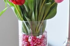 14 tulip and valentine M's vase, just place a smaller glass vase inside a larger one