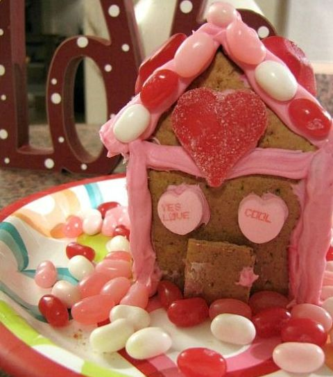 Valentine's Day gingerbread house with candies