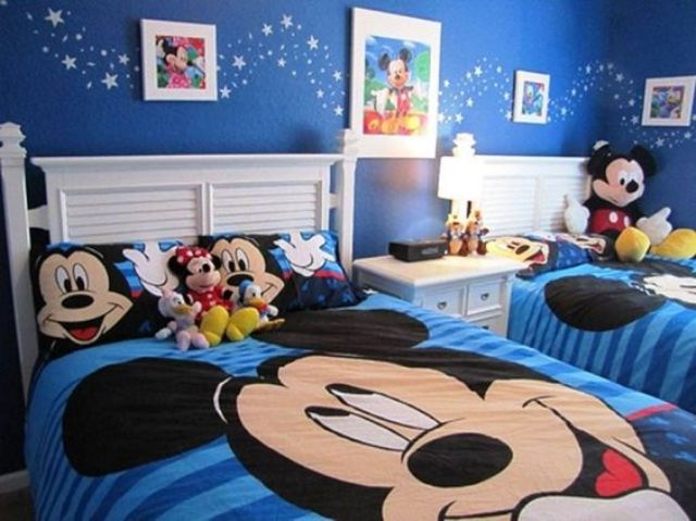 Bold Blue Shared Bedroom With Mickey And Minnie Mouse