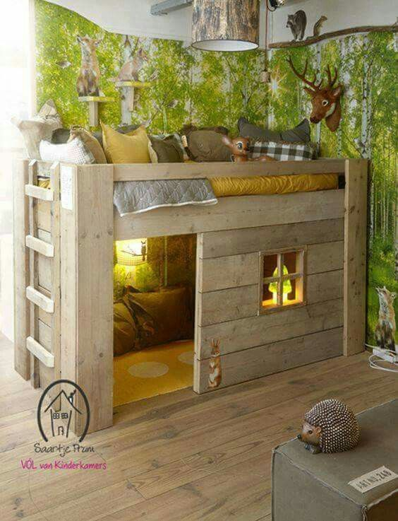 forest cabin bed with a private space under it