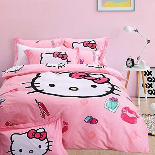 pink bedroom for a girl with Hello Kitty bedding