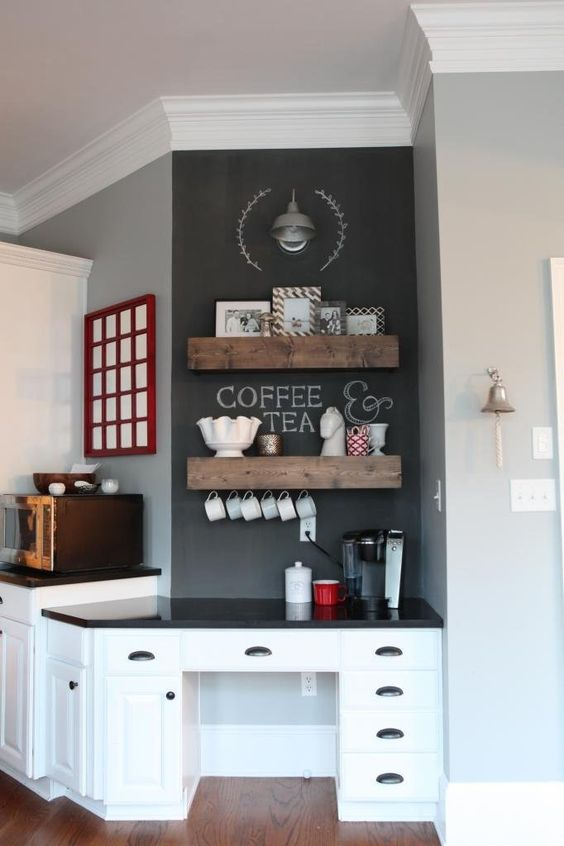 an old desk can become a cool coffee station, add a chalkboard and some stained shelves