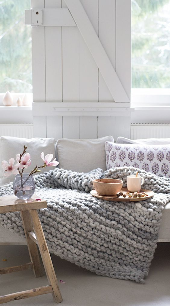 comfy chunky knit blanket for your living room