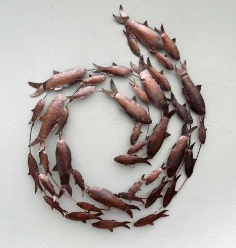 copper fish shoal 3D metal wall art will fit a seaside home
