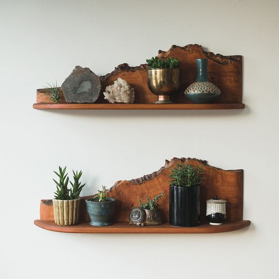 mid-century modern shelves with a live edge