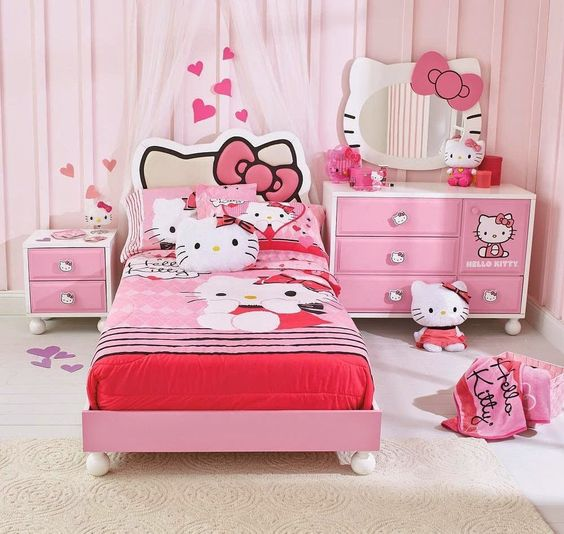 pink girls' room with Hello Kitty decorations and accessories