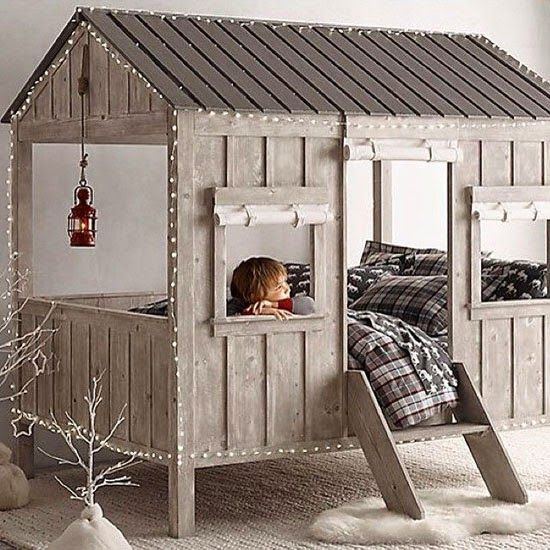 treehouse bed with lights all over will make sleeping cozier