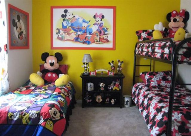 bold shared bedroom in red, black and yellow