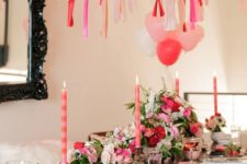 17 colorful galentine party decor with pink florals, tassels and balloons