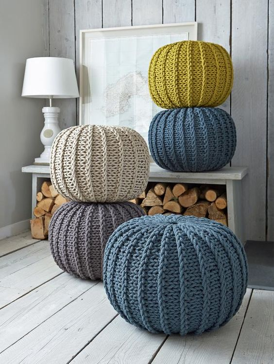 colorful round knit poufs in various colors