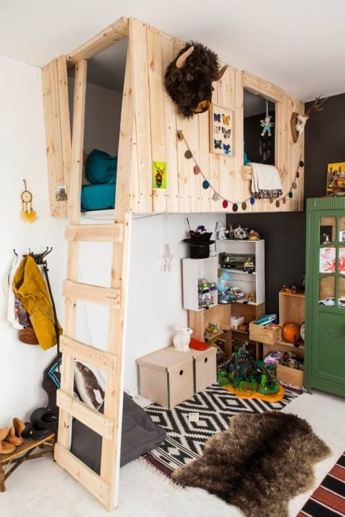 tree-house styled loft bed for a little boy