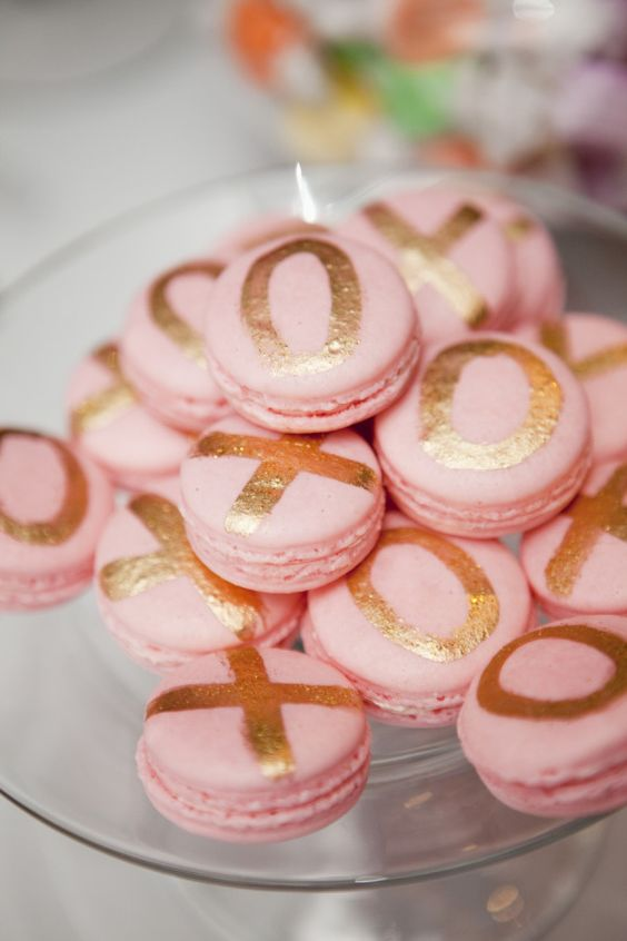 blush macarons with gold metallic XO letters