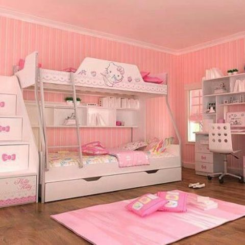 shared girl's bedroom with a bunk bed