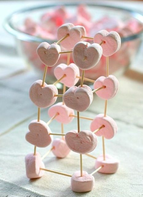 marshmallow toothpick structure to make eating more interesting