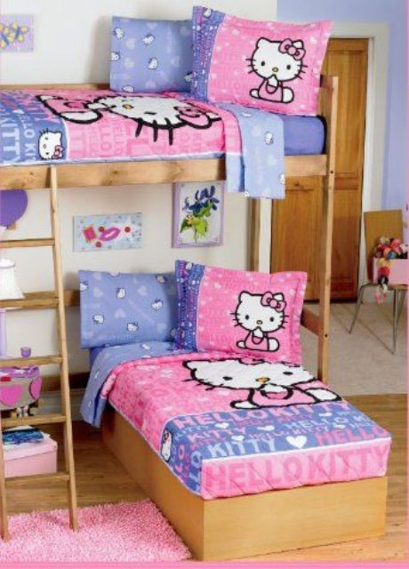 Lovely shared kids u room with a two beds and Hello Kitty bedding