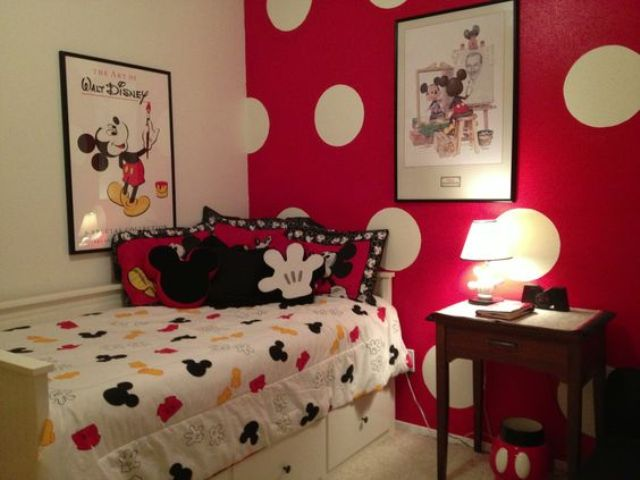 kid's room in red and black with oversized polka dots