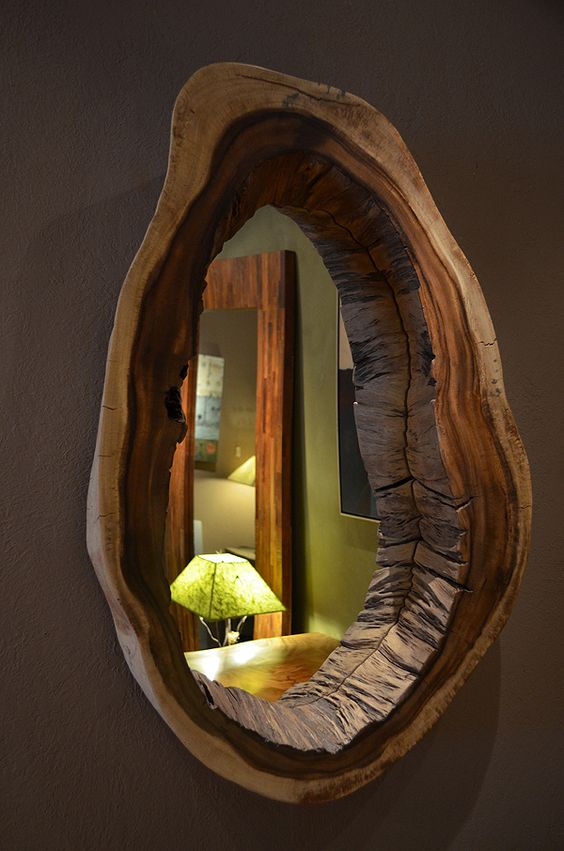 unique raw edge wood mirror to make a statement