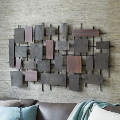 geometric hammered metal wall art