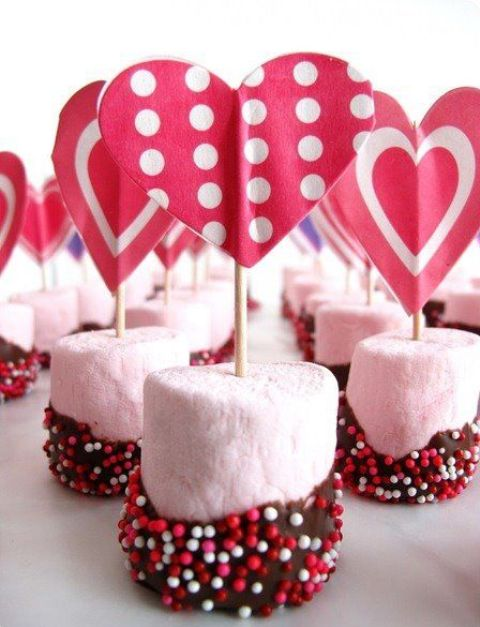 glazed marshmallows with heart toppers