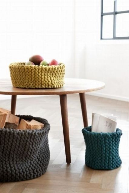 knit containers for various stuff is a great idea