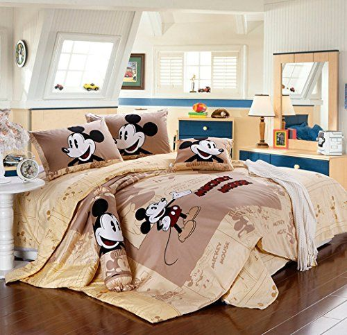 neutral attic bedroom with Mickey Mouse bedding