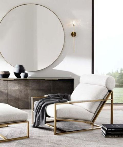 How to arrange a small living room 20 ideas shelterness for Restoration hardware round mirror