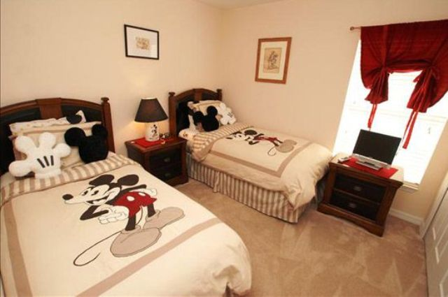 neutral shared Mickey bedroom with just a couple of red touches. 27 Mickey Mouse Kids  Room D cor Ideas You ll Love   Shelterness