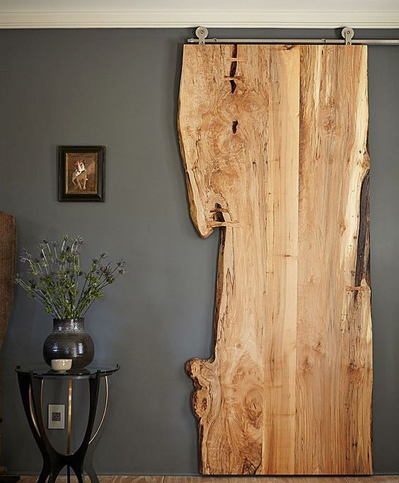 raw edge wooden sliding door