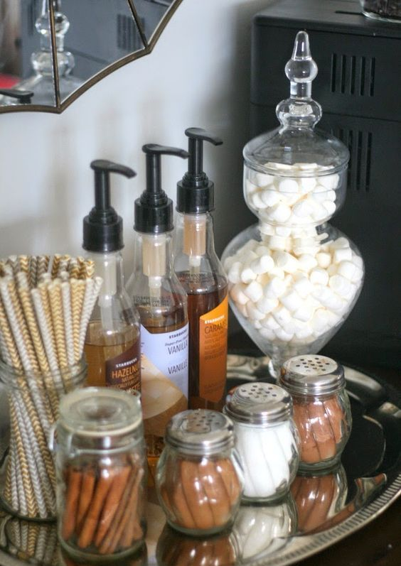 place a tray with sweets, cinnamon and syrups