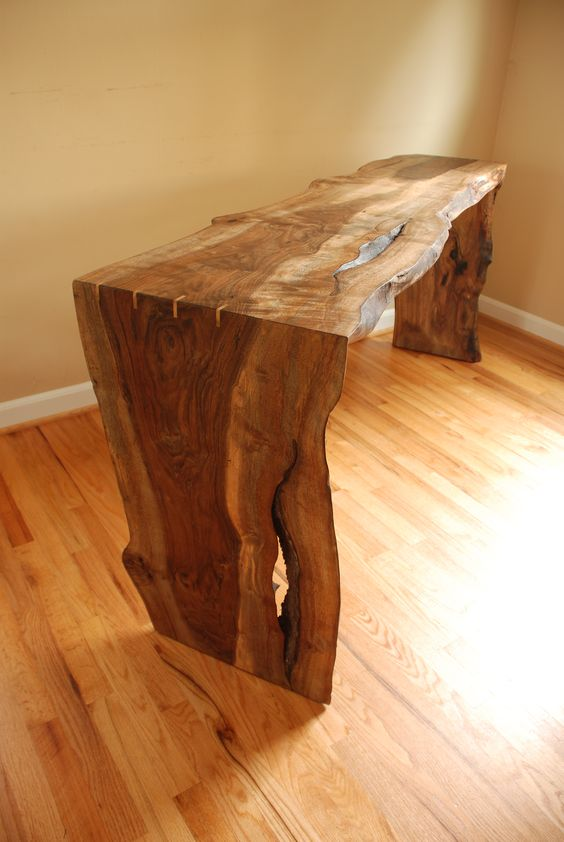 raw edge walnut bench looks luxurious